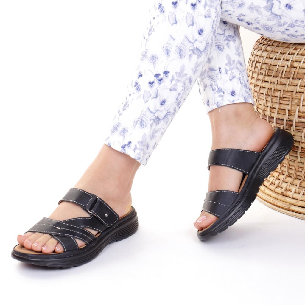 Papuci piele ecologica negri Dionisa