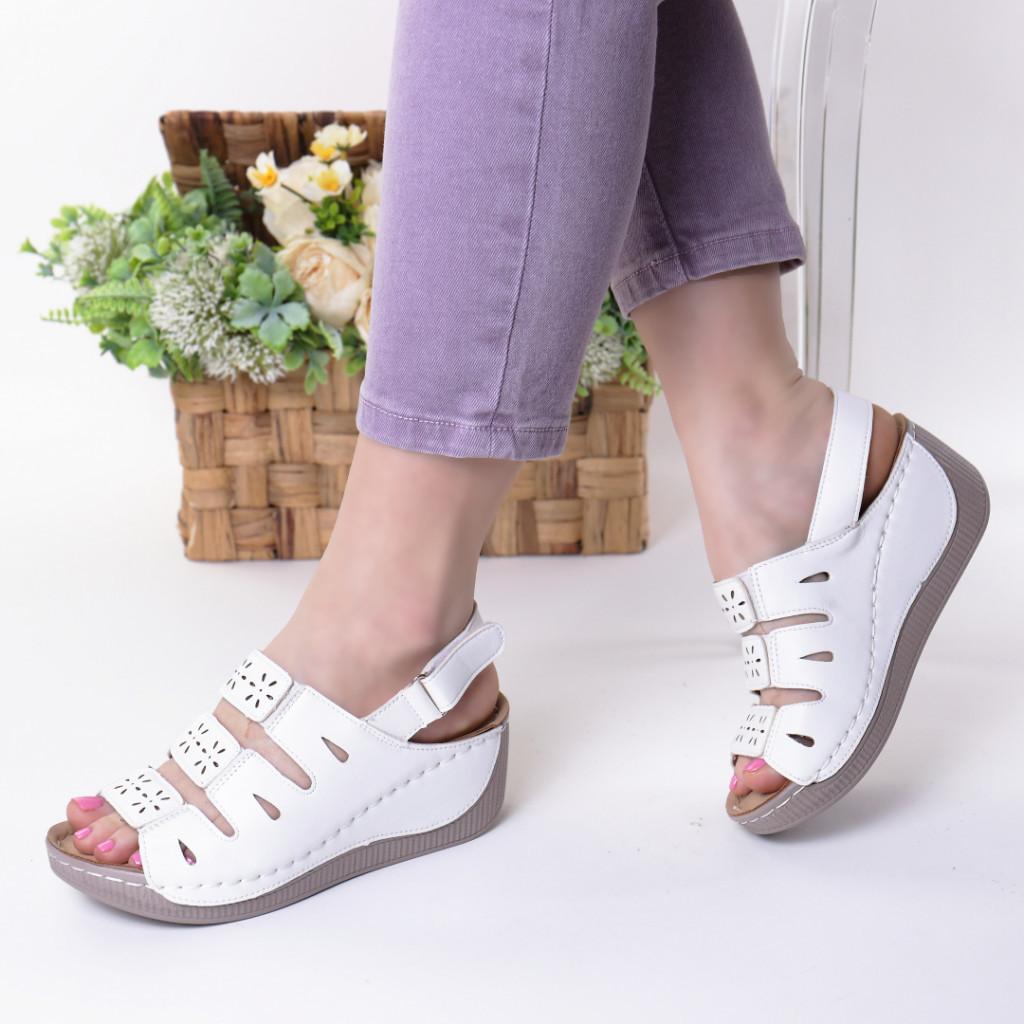 Sandale albe piele ecologica Zemira