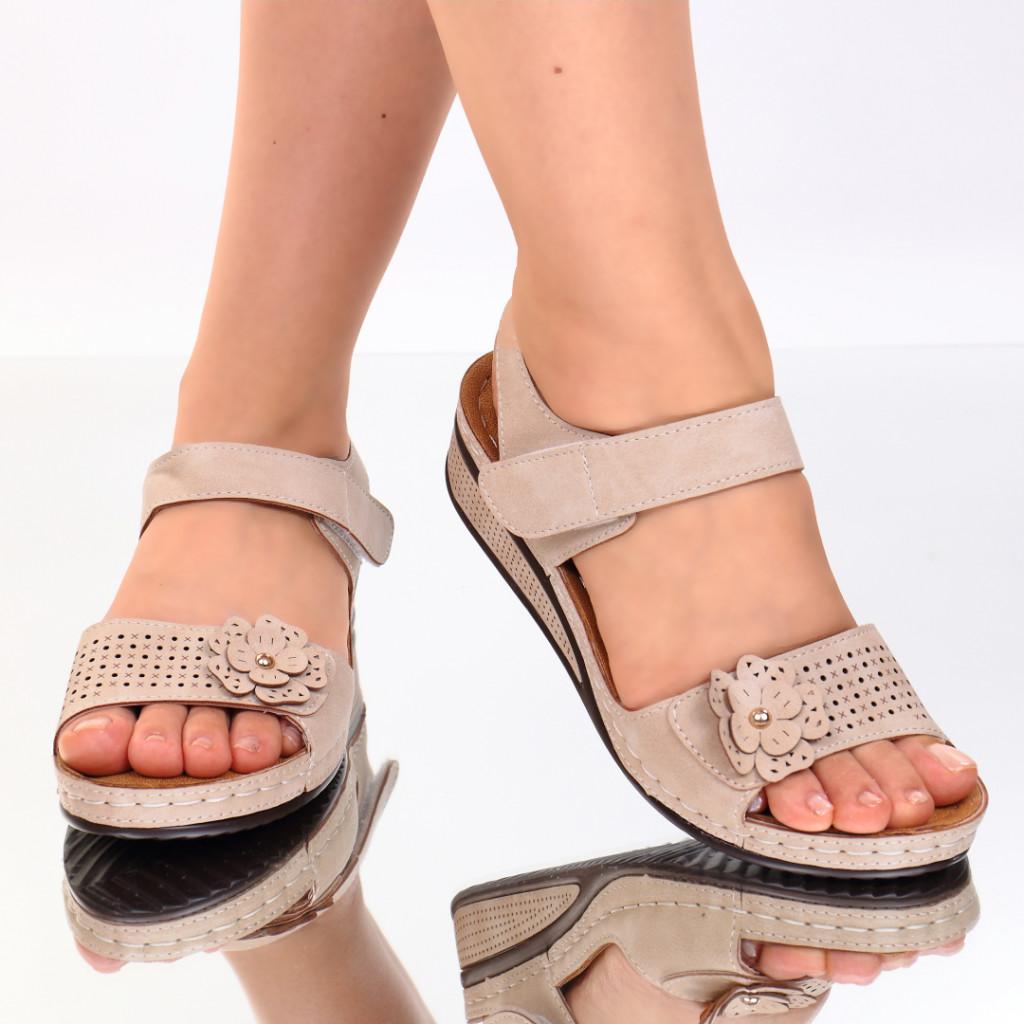 Sandale bej piele ecologica Nuna