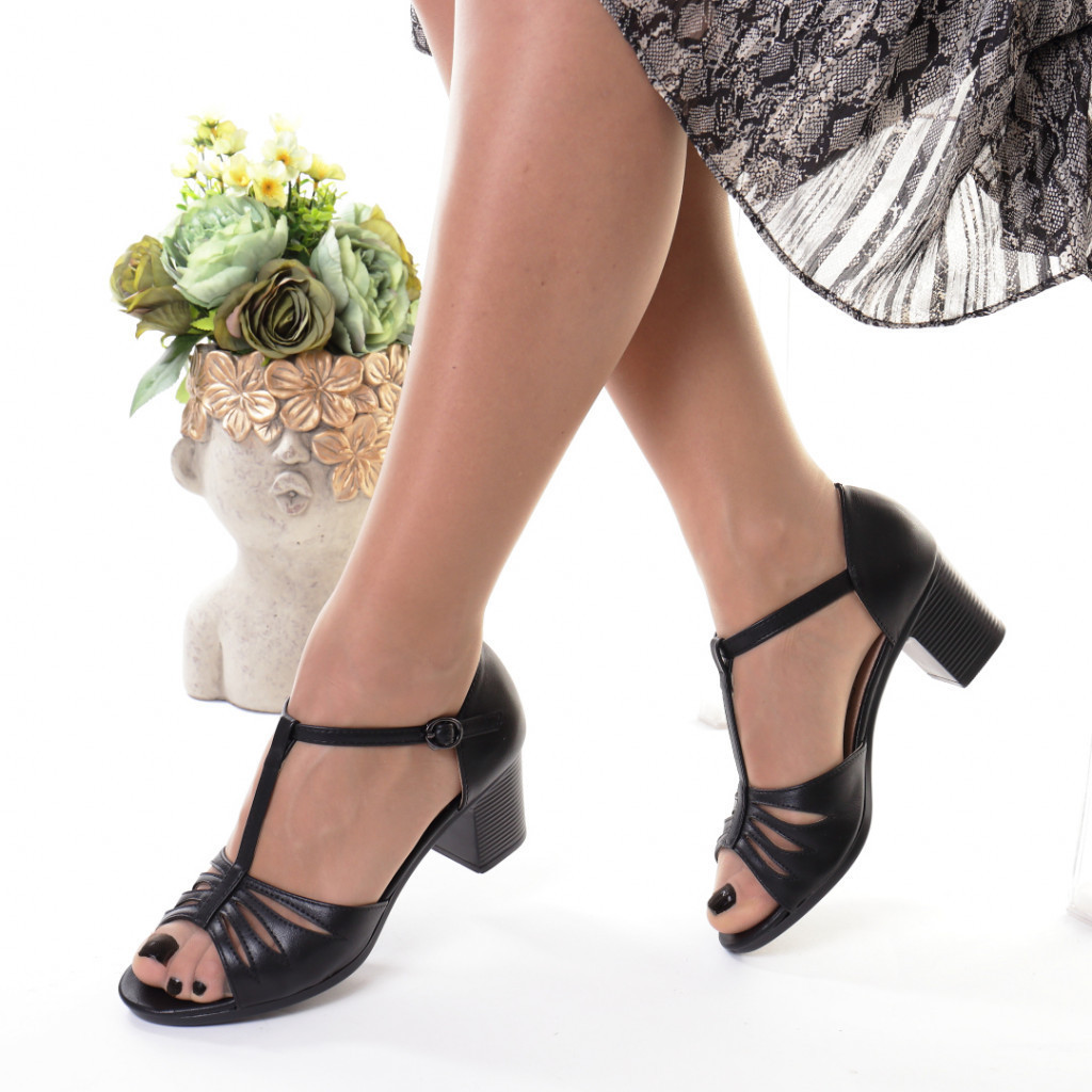 Sandale negre piele ecologica Ernesta