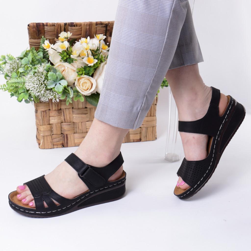Sandale negre piele ecologica Verana