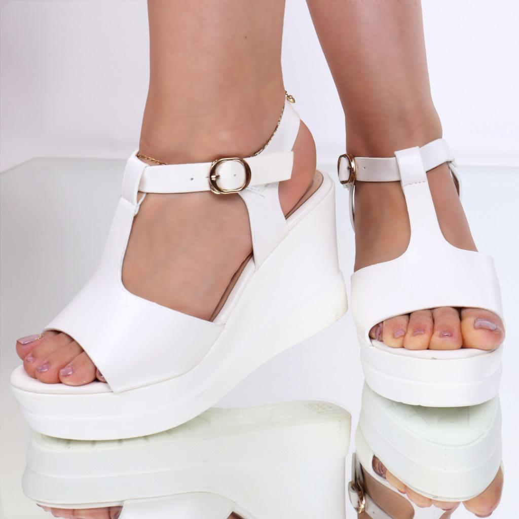 Sandale piele ecologica albe Renea