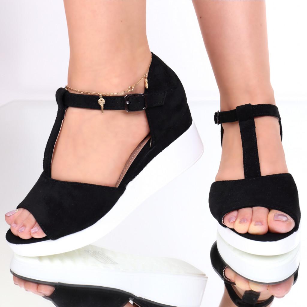 Sandale piele ecologica intoarsa negre Gheisa