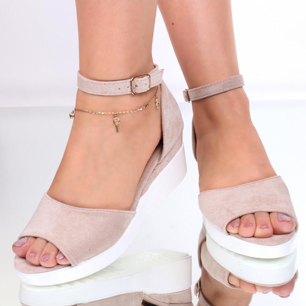 Sandale piele ecologica intoarsa nude Rina