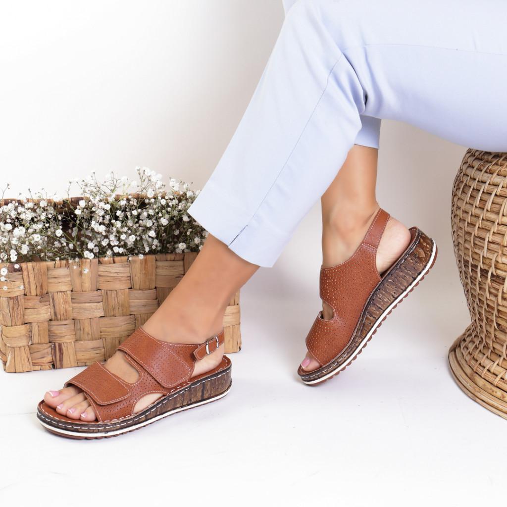 Sandale piele ecologica maro Alfreda