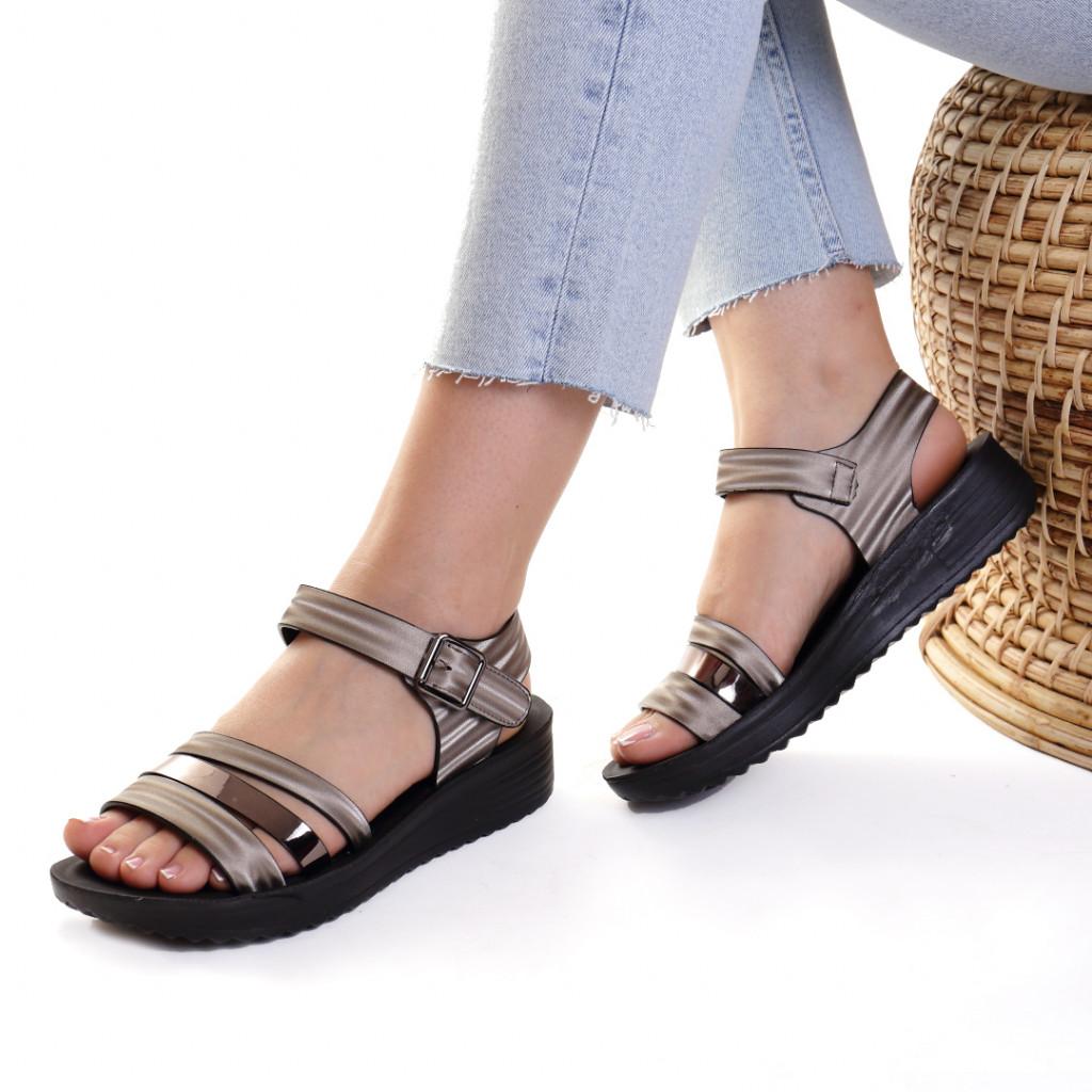 Sandale piele ecologica metalic Charisma