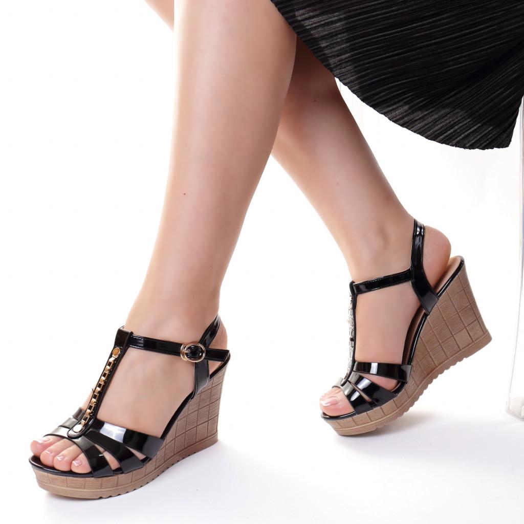 Sandale piele ecologica negre Asya