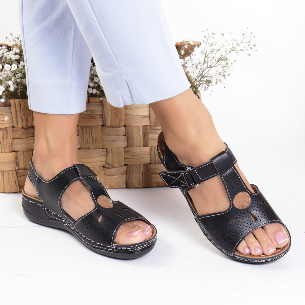 Sandale piele ecologica negre Demi