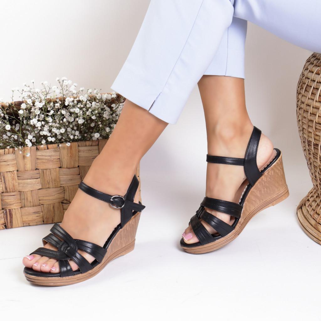 Sandale piele ecologica negre Inserta