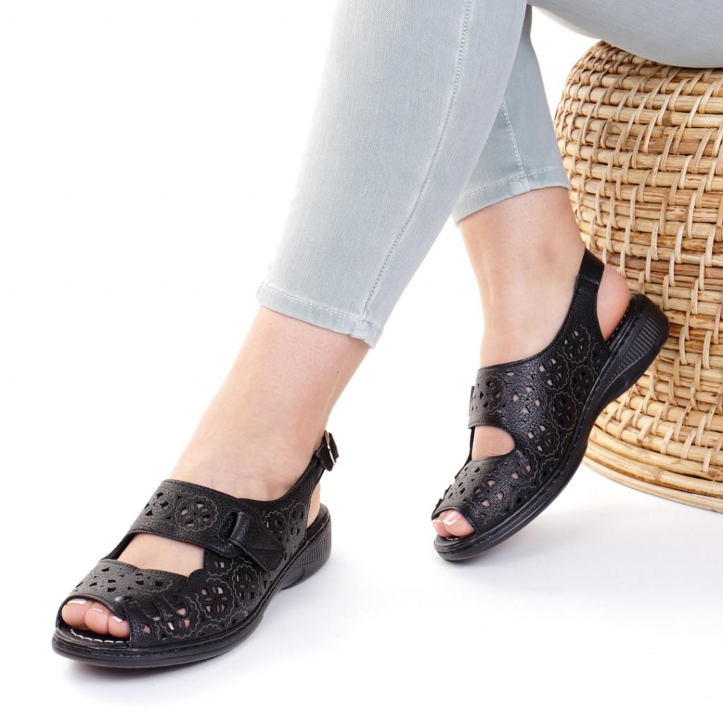 Sandale piele ecologica negre Iudita