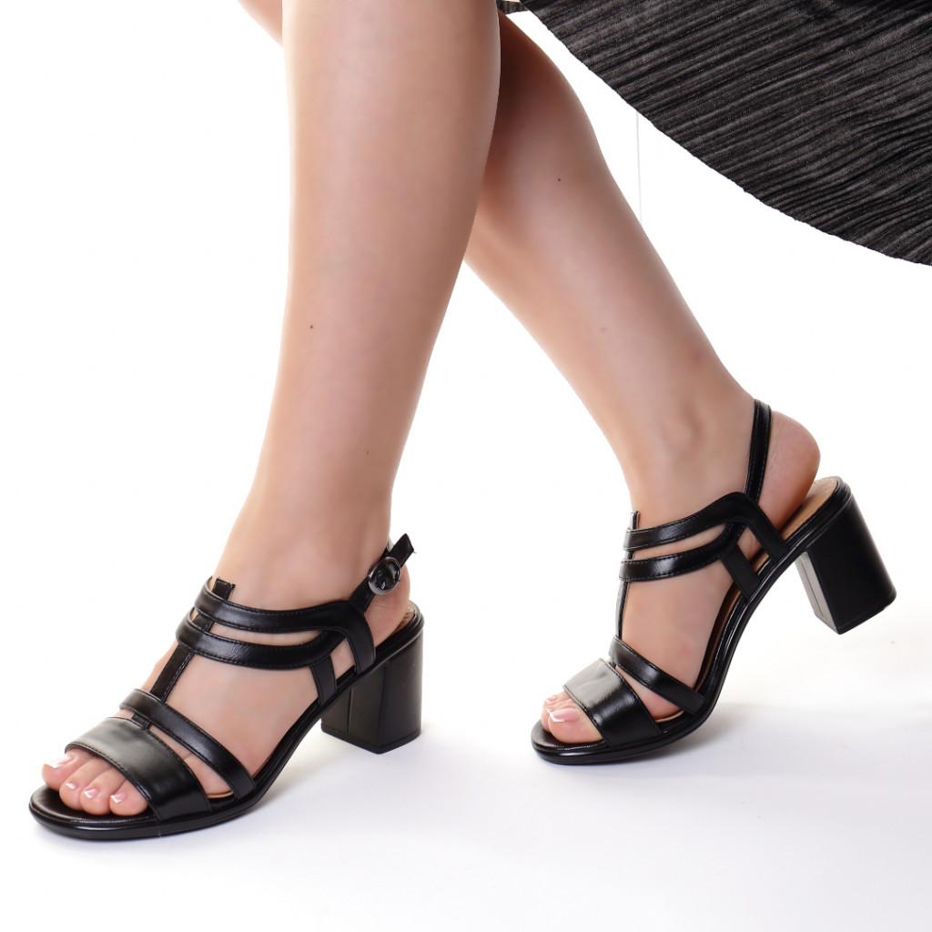 Sandale piele ecologica negre Kesina