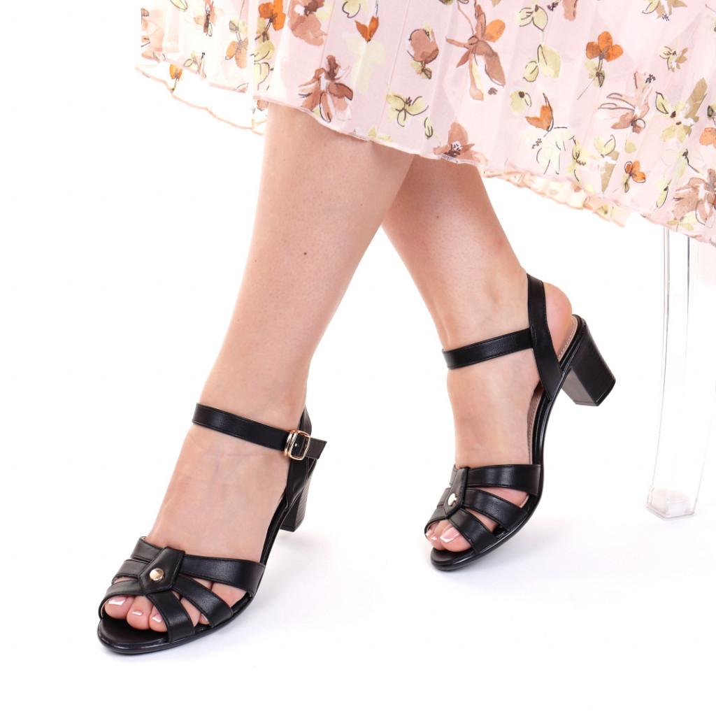 Sandale piele ecologica negre Leta
