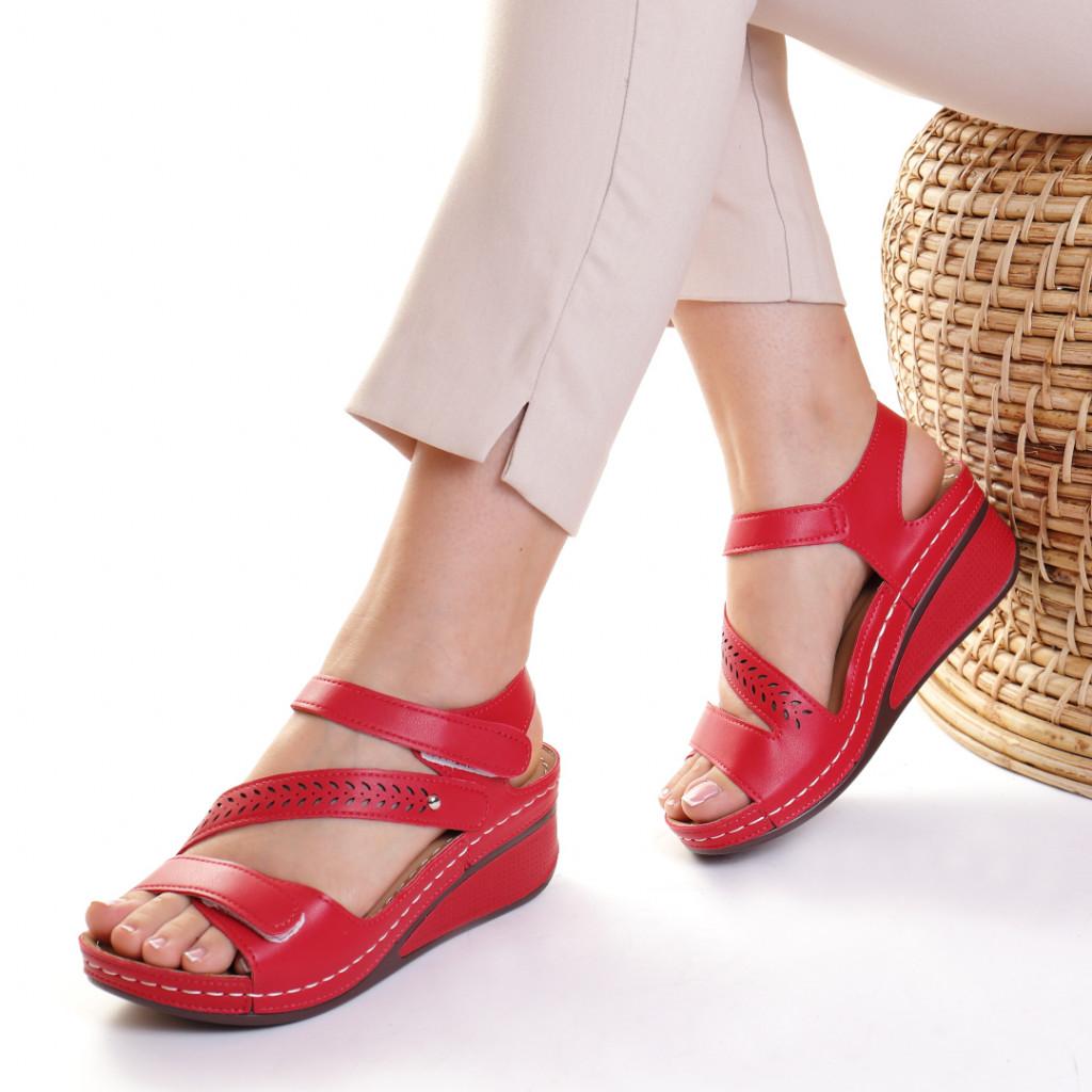 Sandale piele ecologica rosii Lylia