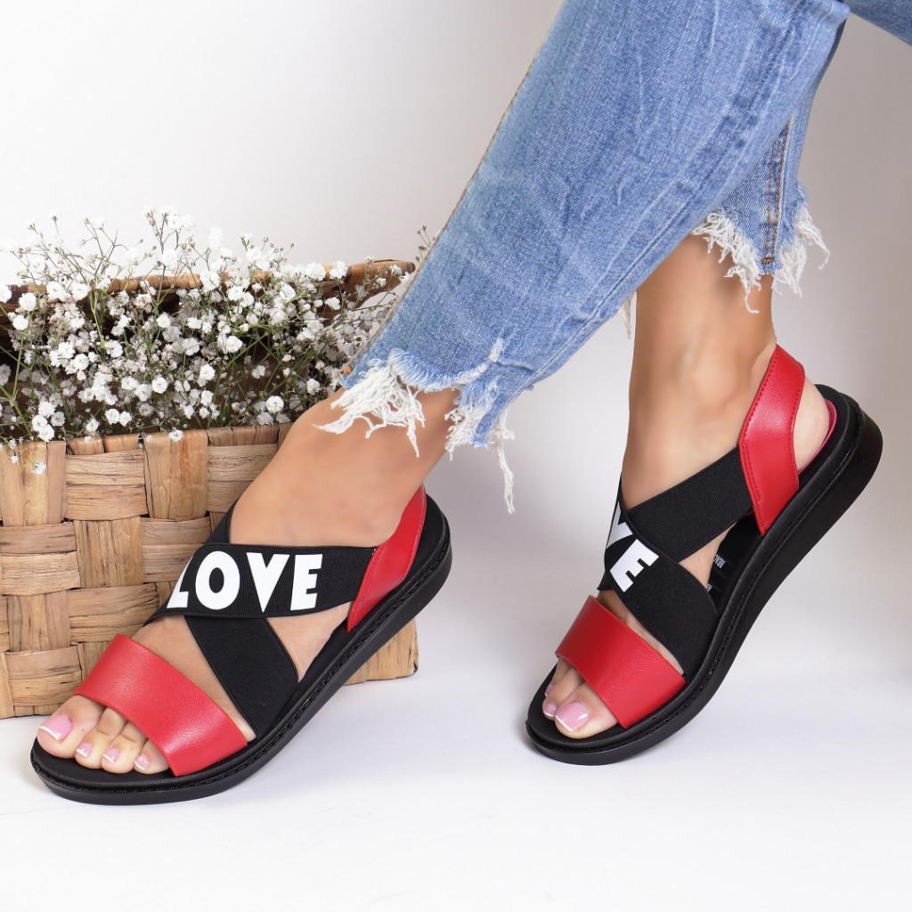 Sandale piele ecologica rosii Virina