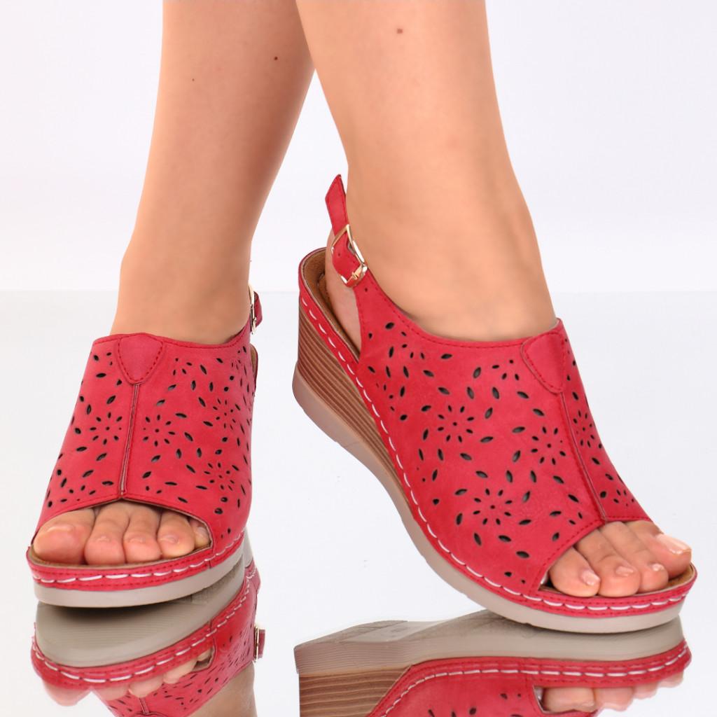 Sandale piele ecologica rosii Zora