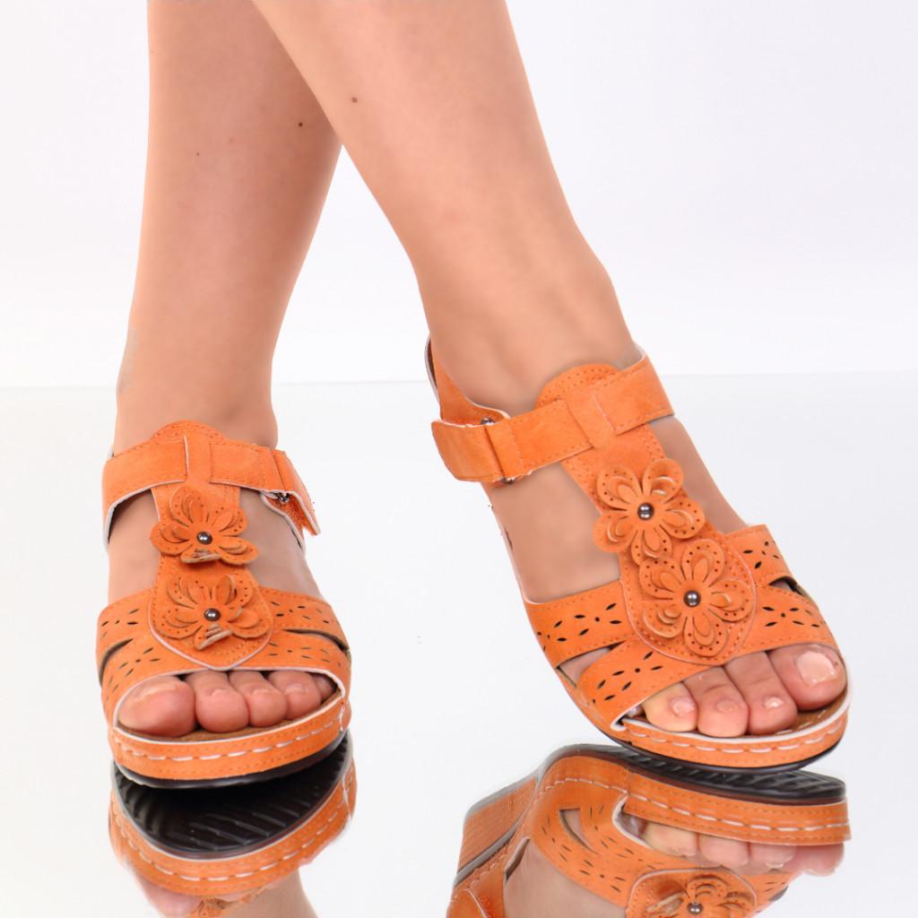 Sandale portocalii piele ecologica Lala