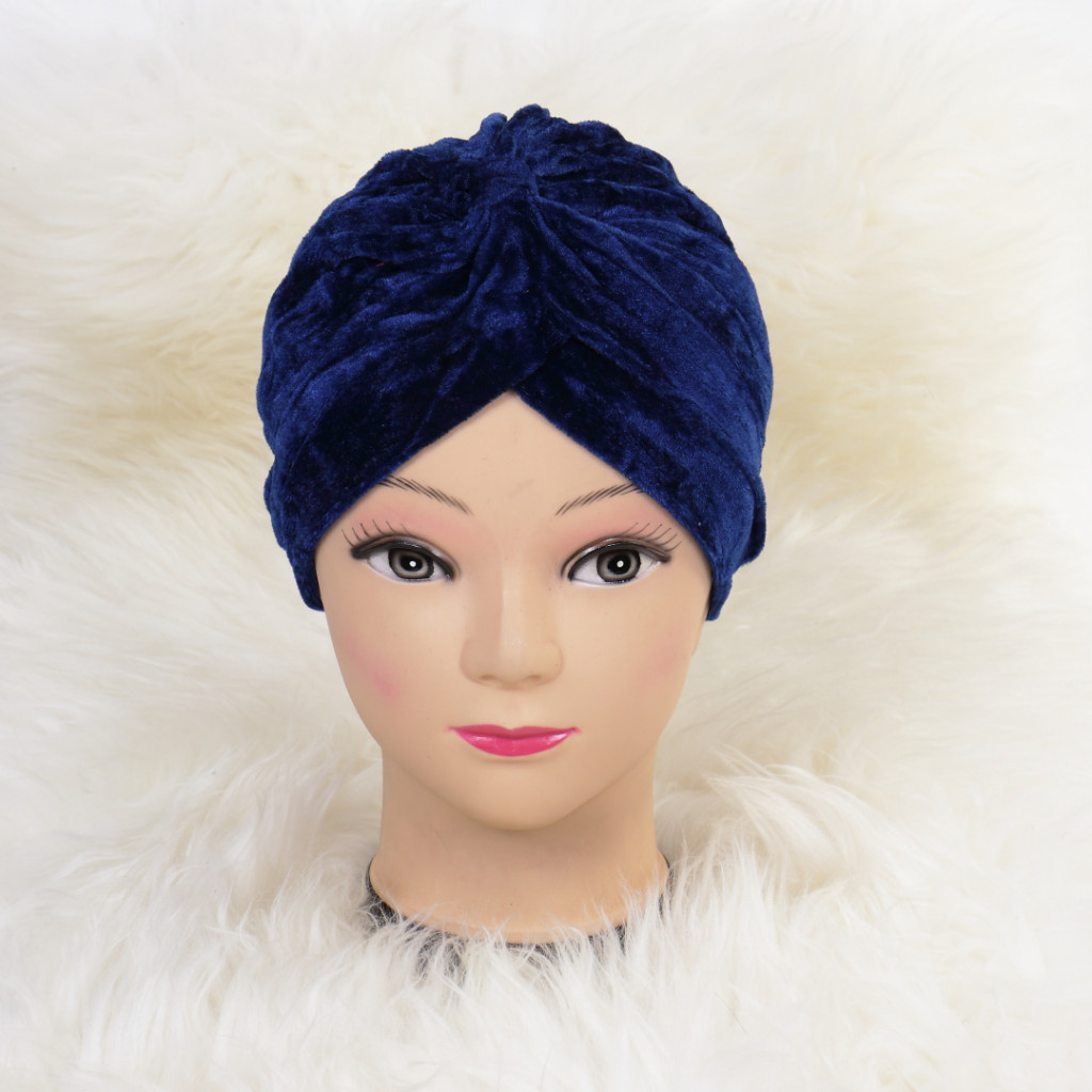 Turban catifelat bleumarin Ina