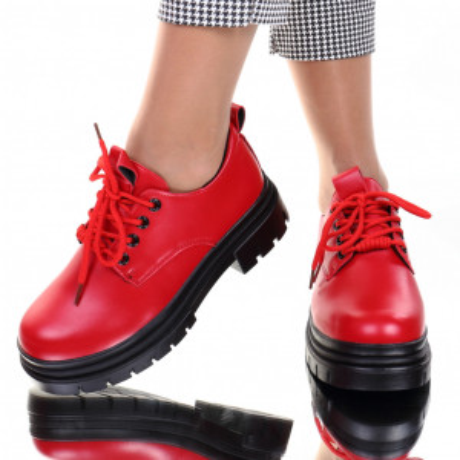 Pantofi piele ecologica rosii Diandra