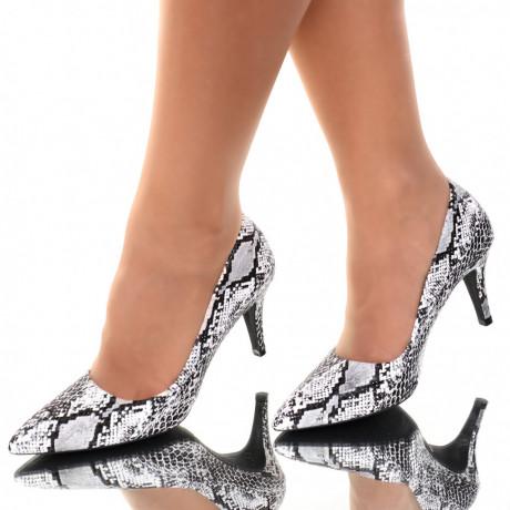 Pantofi piele ecologica albi Sedra