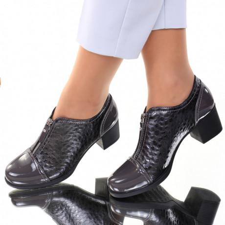 Pantofi piele ecologica gri Mistia