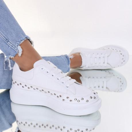 Adidasi piele ecologica albi Ozana