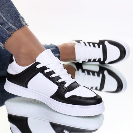Adidasi piele ecologica negru cu alb Almita