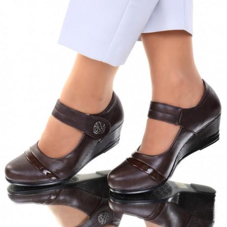 Pantofi piele ecologica maro Salma