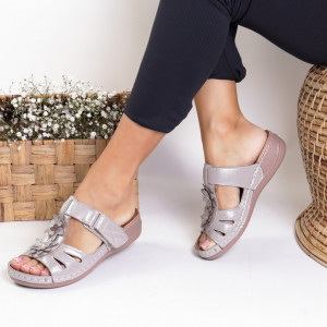 Papuci piele ecologica silver Luzica