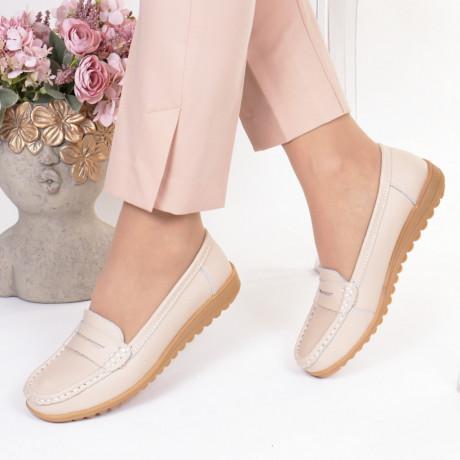 Pantofi bej piele naturala Castilia
