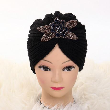 Turban cu model negru Deli