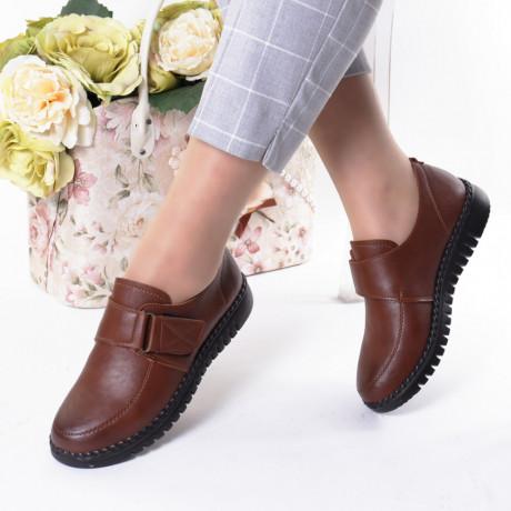 Pantofi maro piele ecologica Rezana