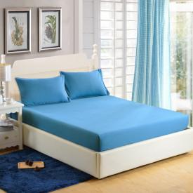 Husa de pat tricot cu inaltimea standard de 25cm (ALBASTRU) 140x200cm
