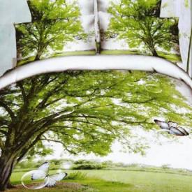 Lenjerie de pat digital print 3D (TREE)