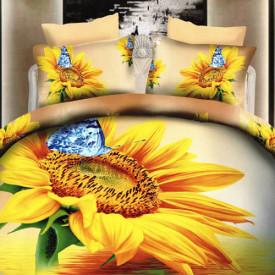 Lenjerie de pat digital print 3D (SUN FLOWER)