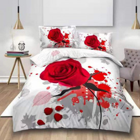 Lenjerie de pat digital print 3D (RED ROSE V8)