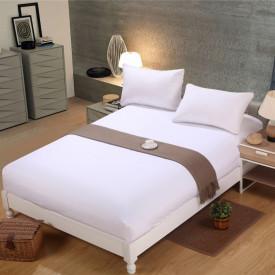 Husa de pat tricot cu inaltimea standard de 25cm (ALB) 180x200cm