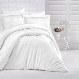 Lenjerie de pat damasc HORECA (GROS) - ALB Două persoane