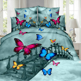 Lenjerie de pat digital print 3D (BUTTERFLY ON THE BRIDGE)