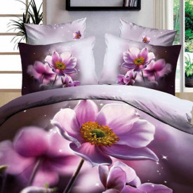 Lenjerie de pat digital print 3D (PURPLE FLOWER)