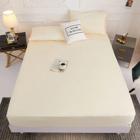Husa de pat tricot cu inaltimea standard de 25cm (CREM) 140x200cm