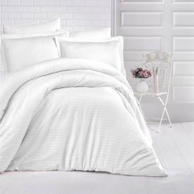 Lenjerie de pat damasc HORECA (GROS) - ALB O persoană