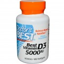 Doctor's Best, Best Vitamin D3, 5000 IU, 180 Softgels + TRANSPORT GRATUIT
