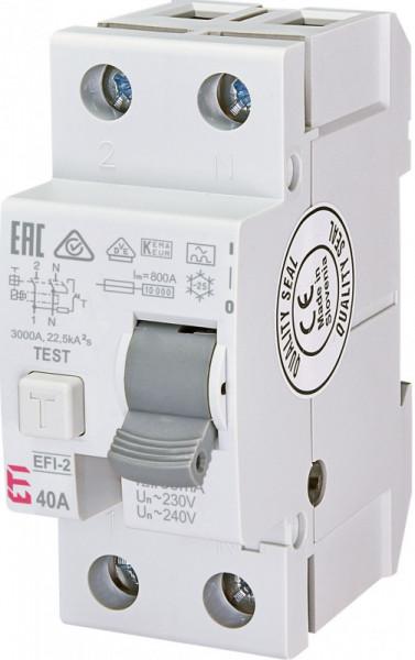 Siguranta automata diferentiala RCCB ETI 40A, TIP A EFI-2 A 40/0.03