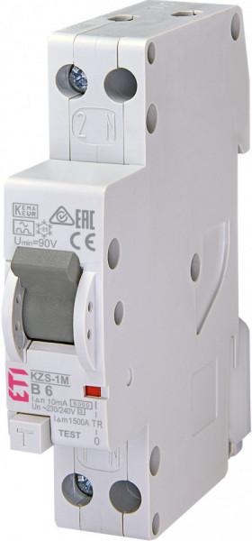 Siguranta automata rcbo KZS-1M 1p+N A B6/10mA 6kA eti