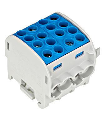 Clemă derivatie, 35mm², 4 intrări-4 ieşiri, albastră Schrack