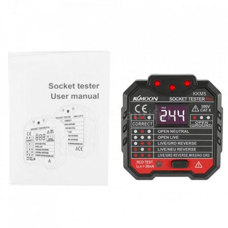 Tester priza EU profesional cu afisaj si indicator LED, tester RCD 30mA