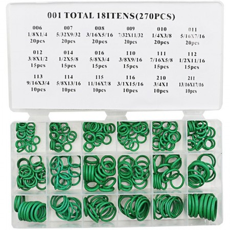 Garnituri verzi, o-ring-uri din cauciuc 270 bucati, pt intalatia frigorifica auto