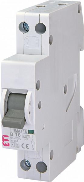 Siguranta automata ETI, 16A, 1P+N, curba declansare B16, curent de rupere 6kA