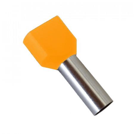 Pini izolati dublu, culoare portocaliu 2x 4/10 mmp - pachet 100 buc