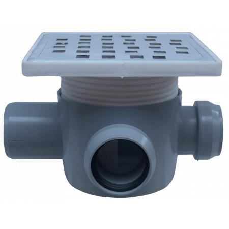 Sifon Pardoseala Patrat cu Inaltator SL 2 Intrari 90/180 grade Dreapta SP-H75-160-2 / Hmin-max[mm]: 95/125; Dev[mm]: 50; Di[mm]: 40